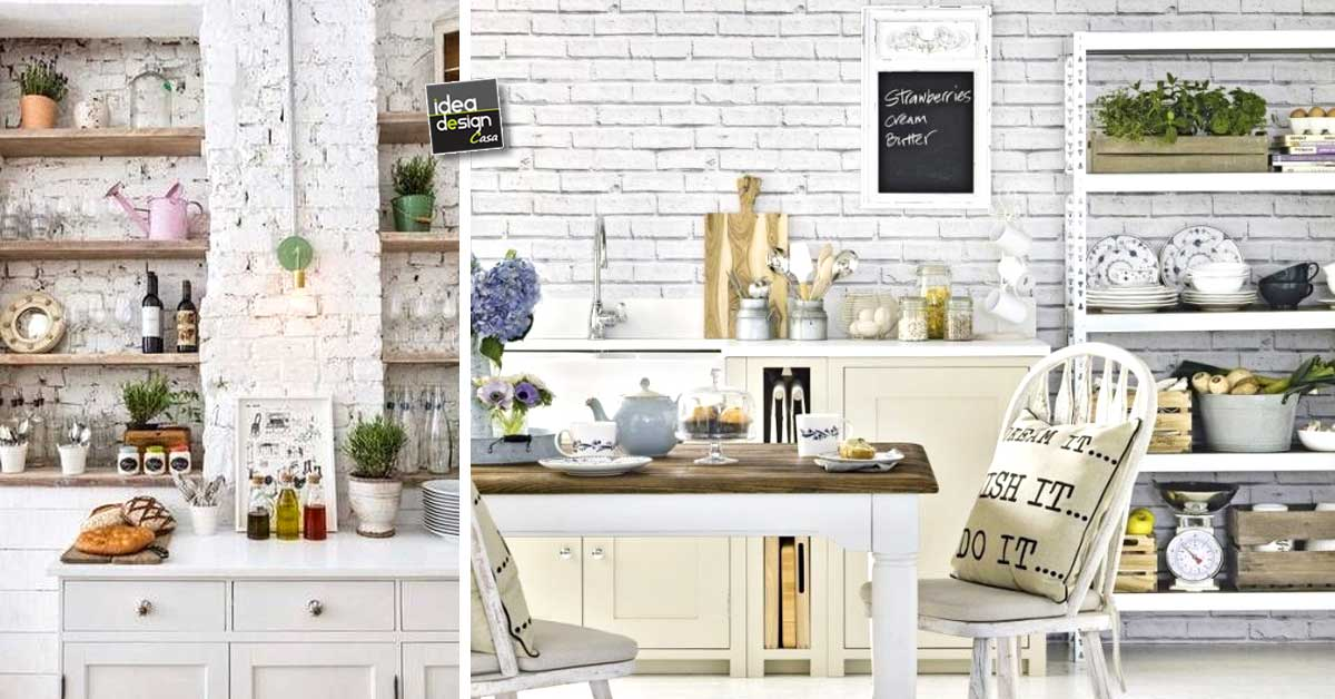 Mattoni a vista bianchi in cucina 20 bellissimi esempi da vedere - Mattoni per cucina ...