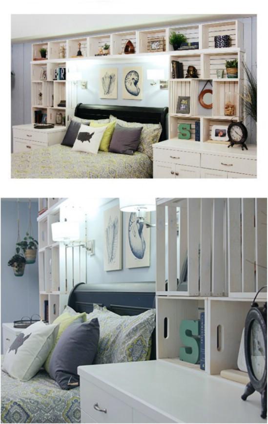 Cassette di legno per arredare la camera da letto 20 idee for Contenitori camera da letto
