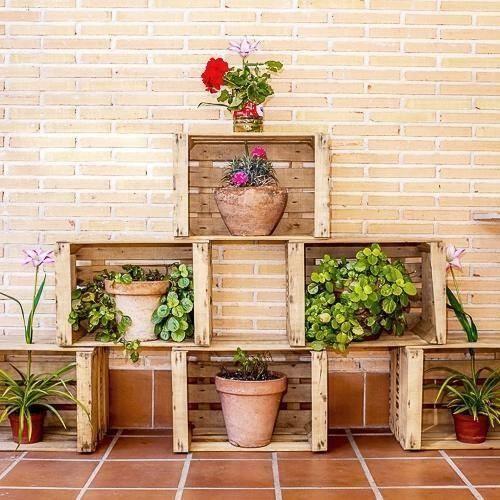 decoracin al aire libre con cajas de madera u idea