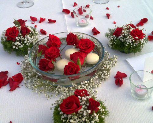 Decorazioni tavoli da matrimonio con le rose