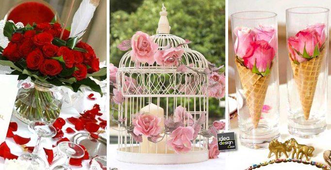 Decorazioni tavoli da matrimonio con le rose! 20 idee lasciatevi