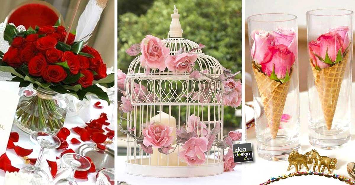 e37610cfc823 Decorazioni tavoli da matrimonio con le rose! 20 idee… Lasciatevi ispirare!