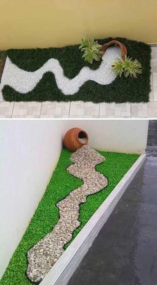Decorare con i sassolini in giardino