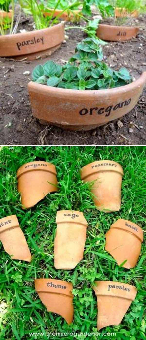 etichettare le piante in giardino