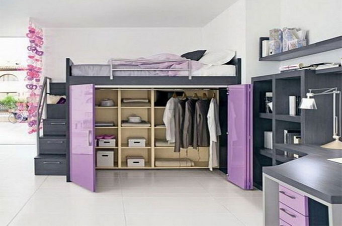 un dressing sotto un letto a soppalco 12 esempi a cui ispirarsi. Black Bedroom Furniture Sets. Home Design Ideas