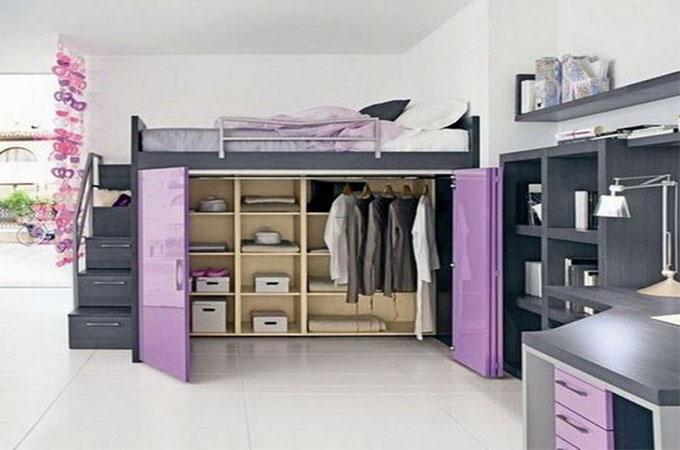 un dressing sotto un letto a soppalco 12 esempi a cui. Black Bedroom Furniture Sets. Home Design Ideas