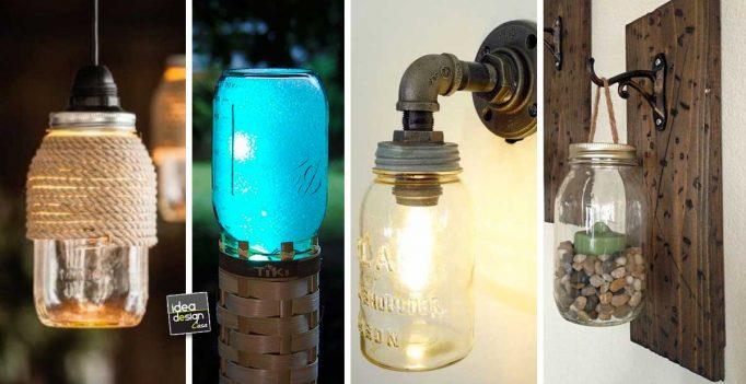 creare una lampada fai da te con i barattoli in vetro! 20 idee per
