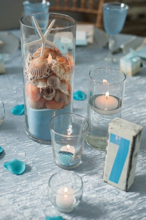 Candele in Vaso a tema mare