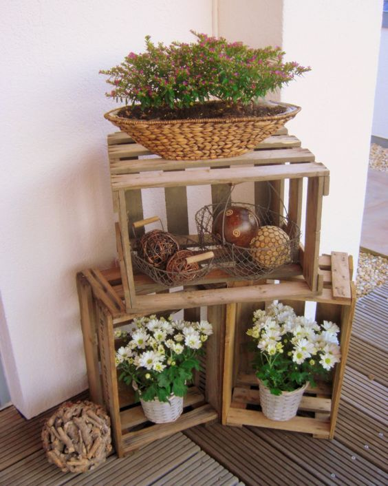 composizioni con piante e cassette di legno 20 bellissime idee ispiratevi. Black Bedroom Furniture Sets. Home Design Ideas