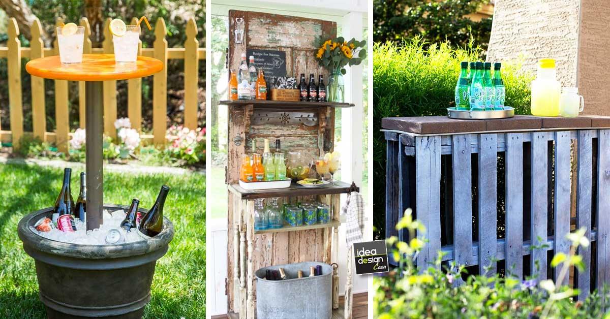 Mini bar fai da te da giardino 20 idee da vedere for Bancone in legno fai da te