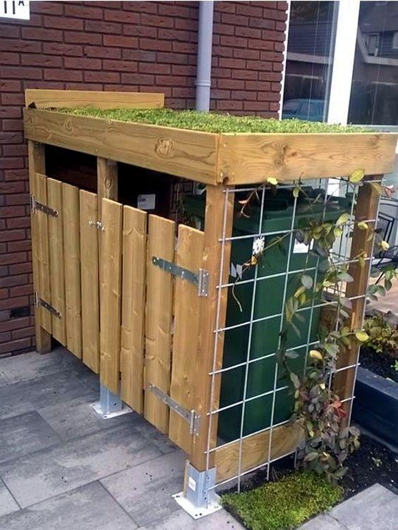 Sistemare i bidoni della spazzatura in giardino 20 idee - Bidoni per differenziata casa ...