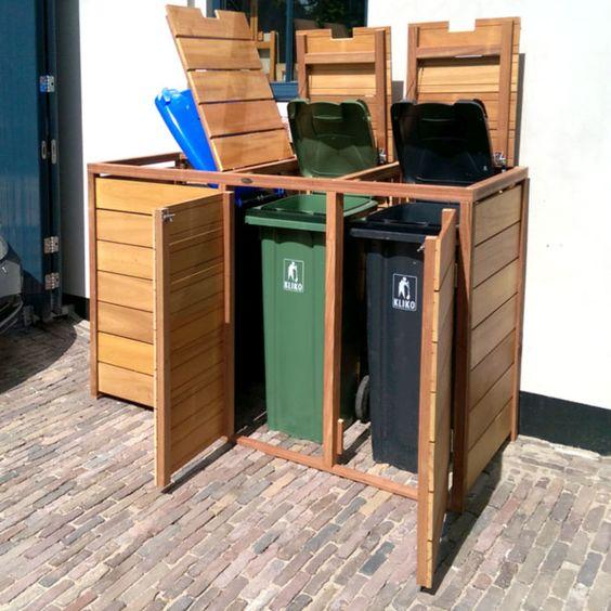Sistemare i bidoni della spazzatura in giardino 20 idee - Contenitori spazzatura casa ...