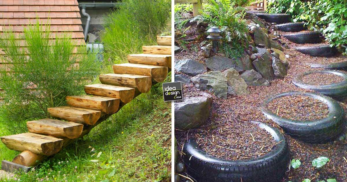 Realizzare scalini in giardino 20 soluzioni da vedere - Giardino pallet ...