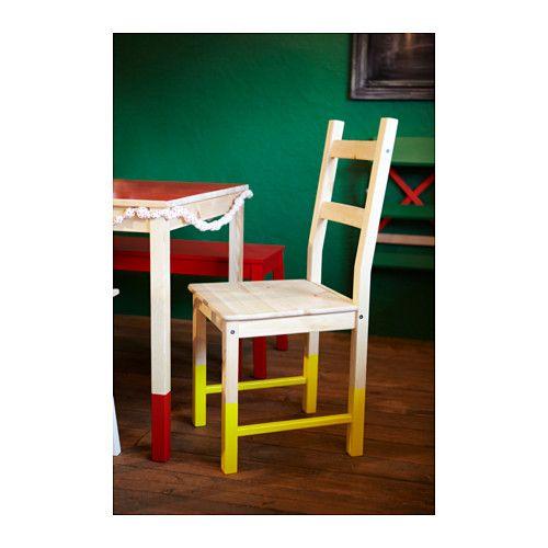 sedie ikea dipinte a metà.