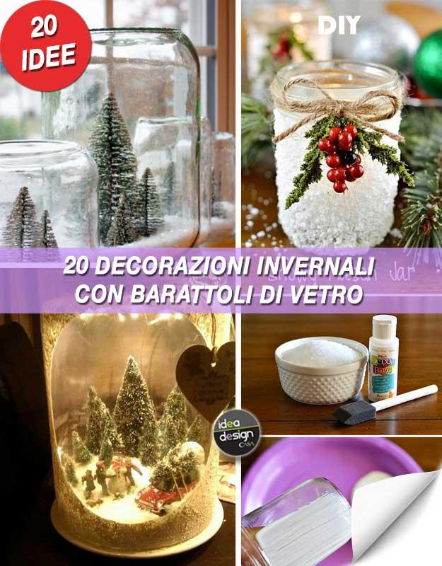 Decorazioni invernali con barattoli di vetro