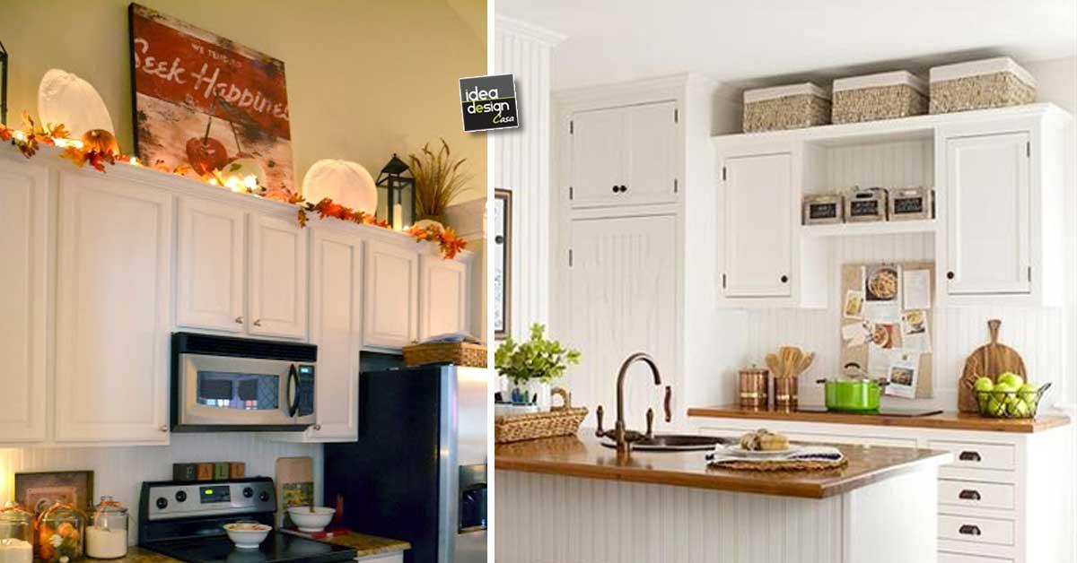 Decorare sopra i pensili della cucina ecco 20 idee - Pensili sopra letto ...