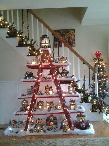 a miniature christmas village to decorate house idea 1