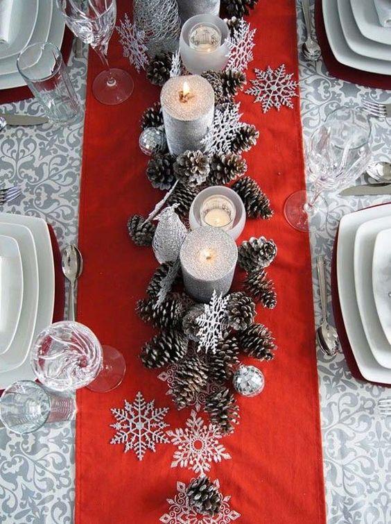 Addobbi natalizi shabby chic fai da te per la tavola.