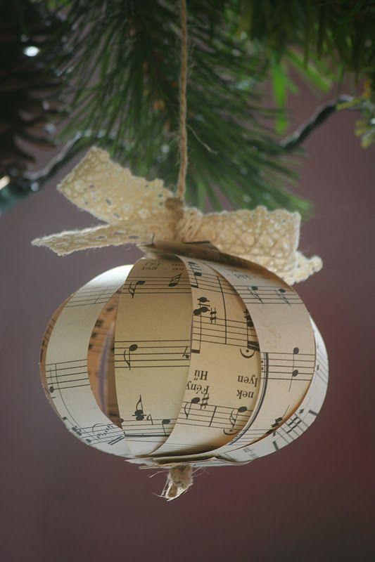 Addobbi natalizi fai da te con la carta per l'albero.
