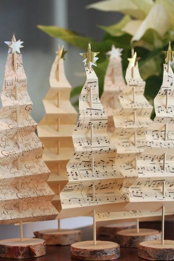 Decori natalizi fai da te realizzati con la carta.