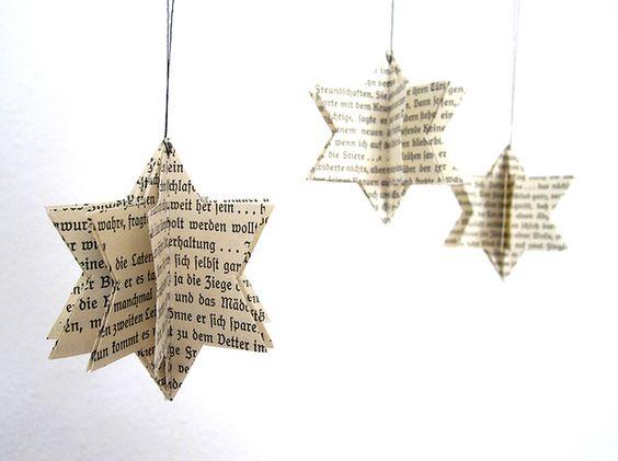 Stelline di carta, decorazioni natalizie fai da te da appendere.