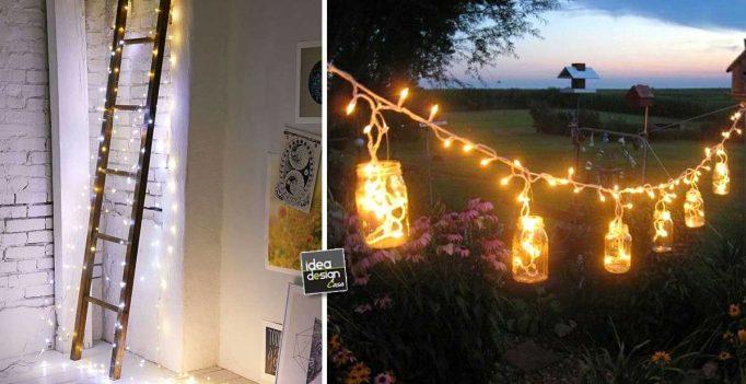 decorare casa con le lucette di natale in modo originale 17 idee creative. Black Bedroom Furniture Sets. Home Design Ideas