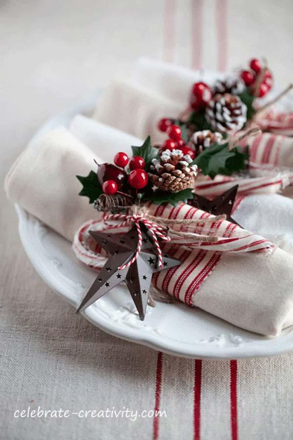Decorare la tavola di natale in modo creativo con i tovaglioli 15 idee - La tavola di melusinda ...