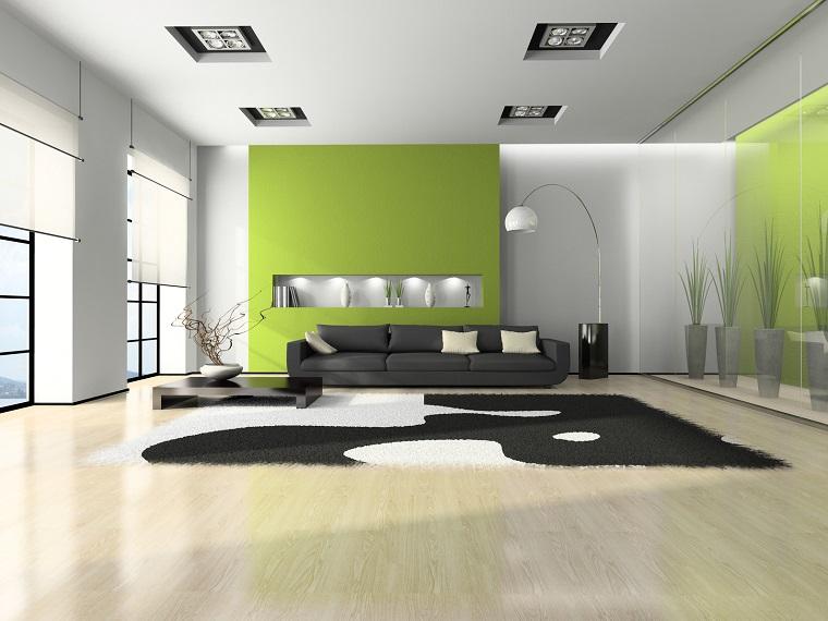 Pareti Soggiorno Grigio : Soggiorno grigio e verde ecco esempi per farvi un idea