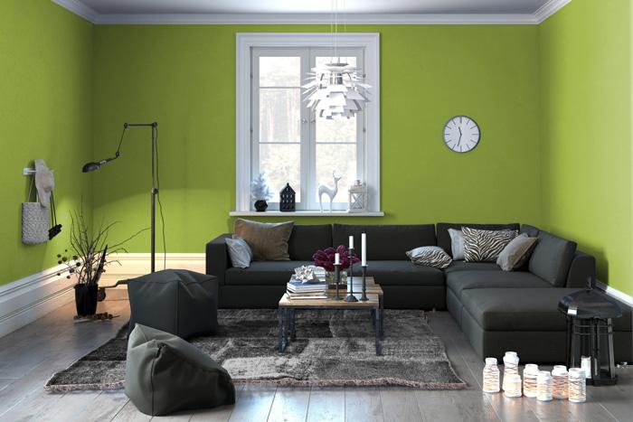 Pareti Soggiorno Grigio Scuro : Soggiorno grigio e verde? ecco 15 esempi per farvi un idea!