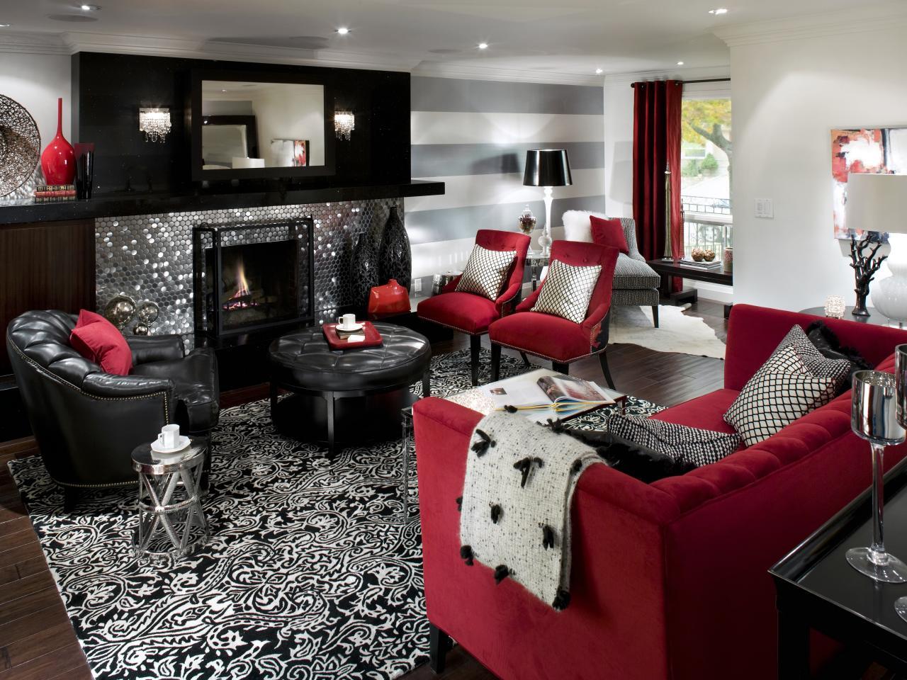 soggiorno rosso e grigio