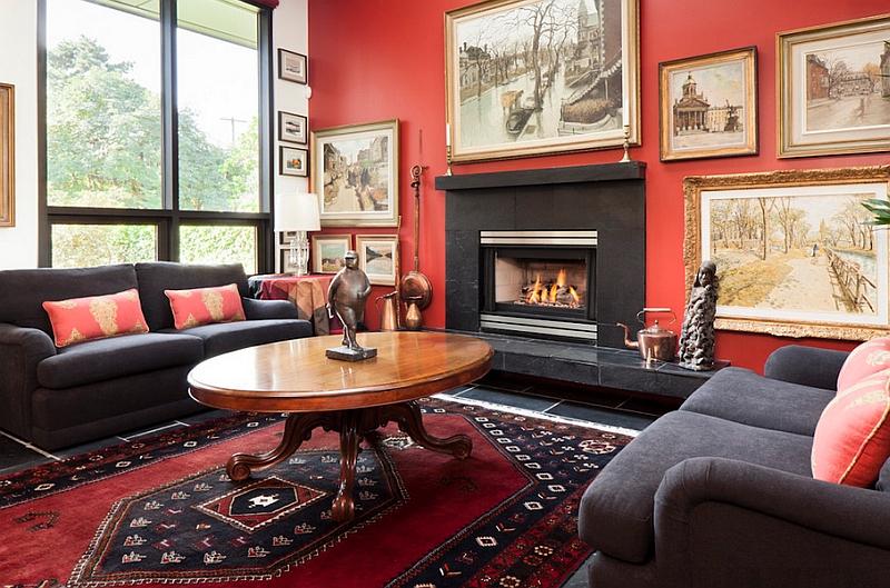 soggiorno rosso e nero