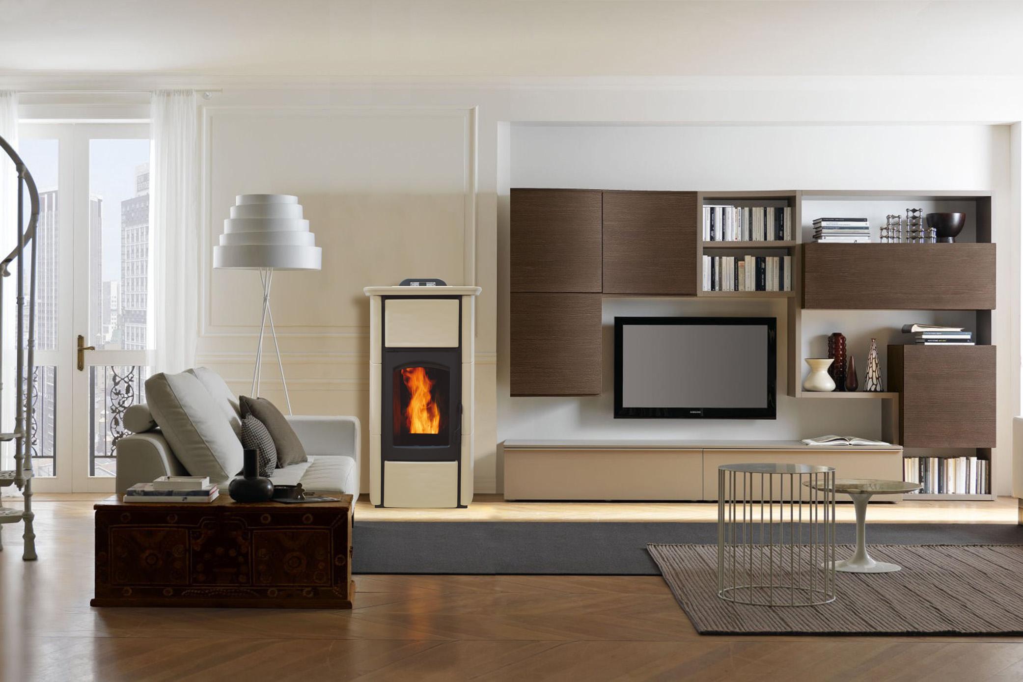 Integrare una stufa nella decorazione di casa 20 idee per - Montaggio stufa a pellet idro ...