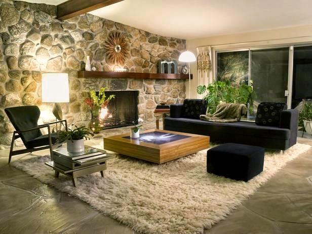 Il soggiorno con pietre a vista