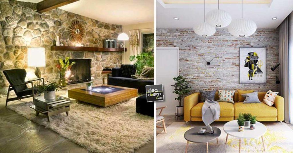 Idee Per Rifinire Casa.Rivestimenti In Pietra 15 Decorazioni Che Arredano Il Soggiorno Con Calore