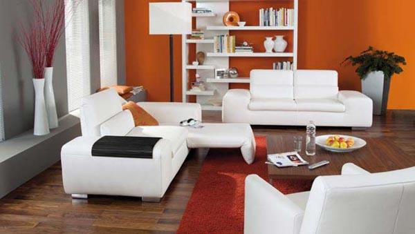 Salotto Stile Moderno Con Divano Pelle Camino E Tappeto Interior Design : Divano bianco moderno free with