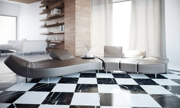 Black and white floors in the living room