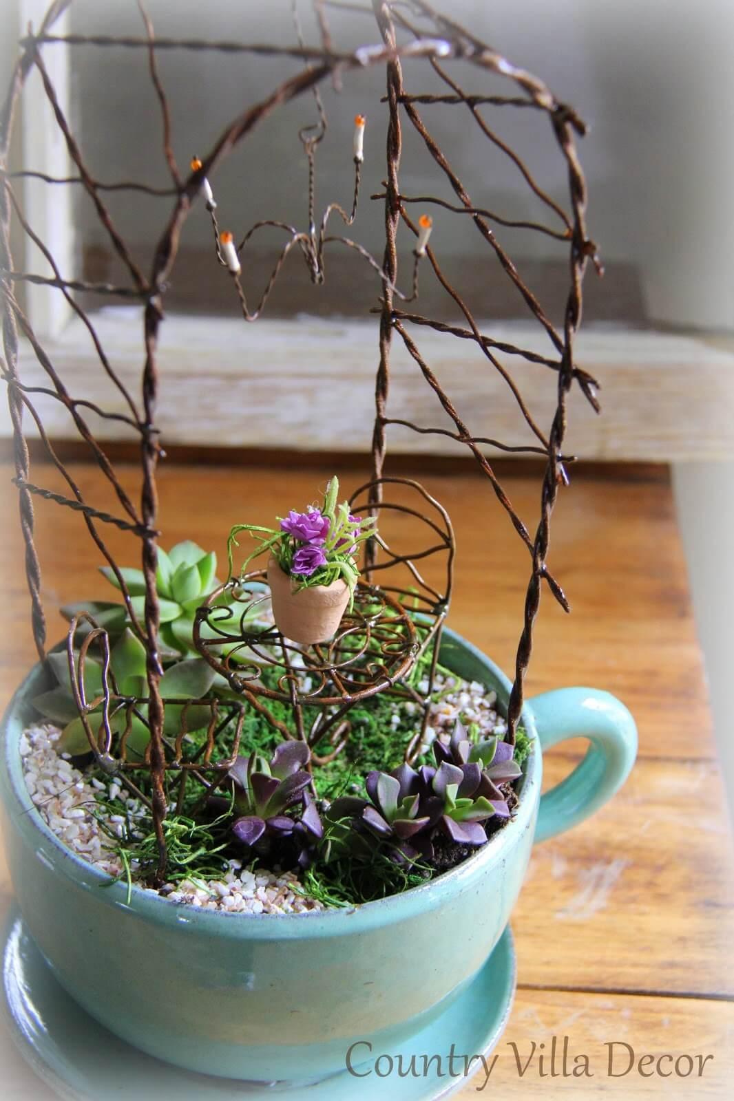 Un mini giardino in una tazza ecco 20 bellissime idee fai for Idee per realizzare una fioriera
