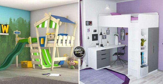 Ottimizzare la camera dei bambini con un letto a soppalco! 15 idee...