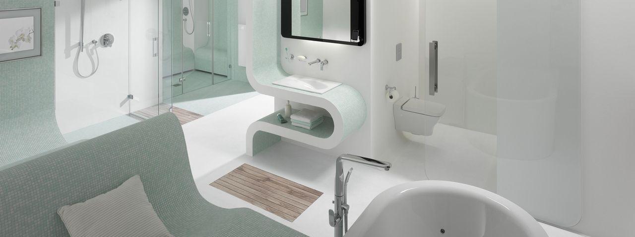 bagno moderno di grande design con lavandino originale