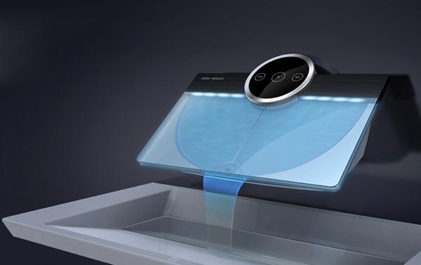 bagno super moderno, miscelatore futuristico digitale con acqua illuminata di colore blu