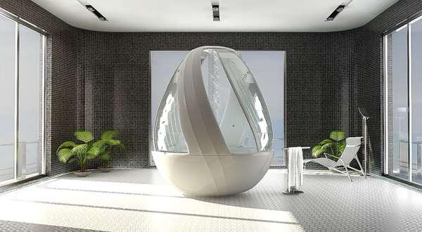 bagno moderno con vasca futuristica bianca, mattonelle nere