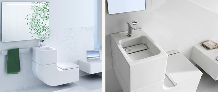 bagni moderni con lavandini, wc e bidet salvaspazio