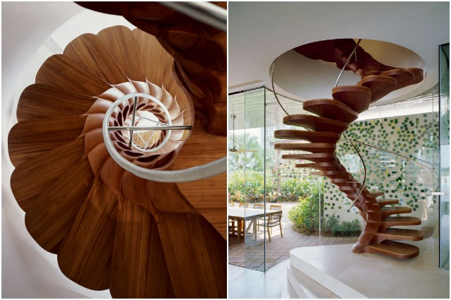 scale a chiocciola moderne in legno