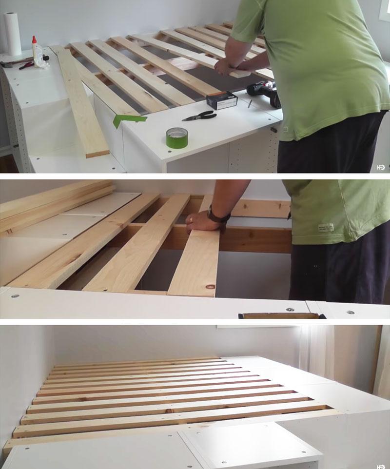 Un letto salvaspazio a piattaforma con 7 mobili da cucina for Mobili salvaspazio ikea