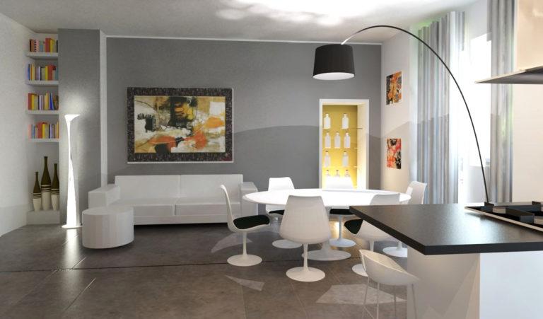 soggiorno con inserti e pareti in cartongesso, divano e poltrone bianche.
