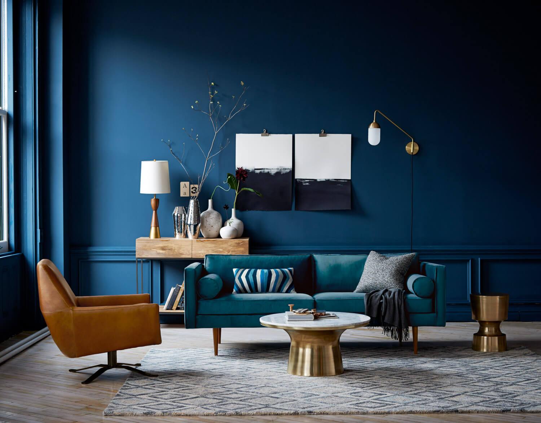 Colori pareti in soggiorno blu.