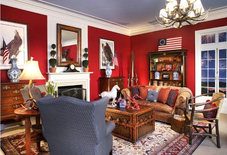 Colori pareti in soggiorno rosso.