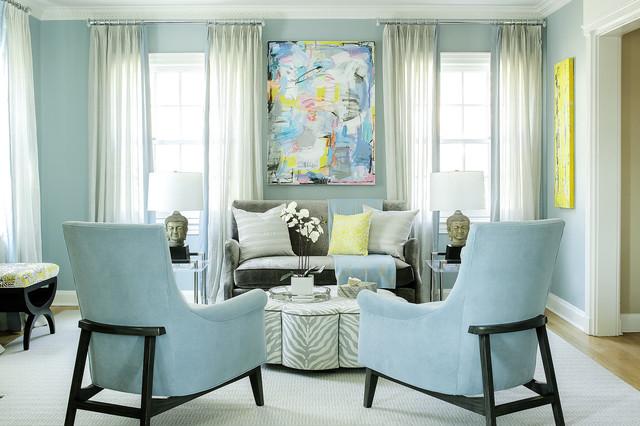 Colori pareti in soggiorno celeste.