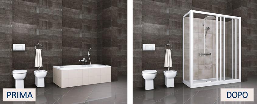 Trasformare la vasca in doccia tante idee e soluzioni per il tuo bagno - Trasformare vasca da bagno in doccia ...