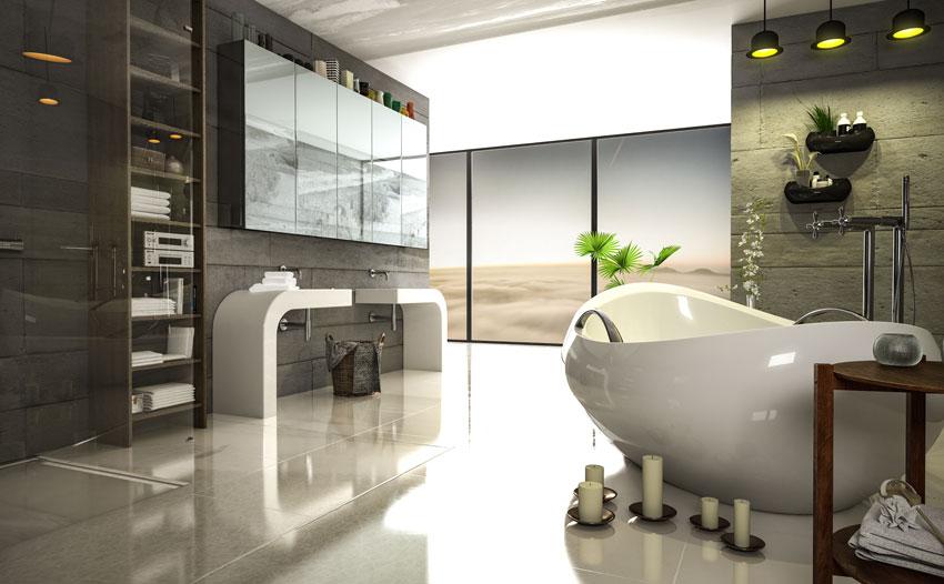 vasca moderna in questo bagno, mobile lavello design bianco, pareti effetto pietra.
